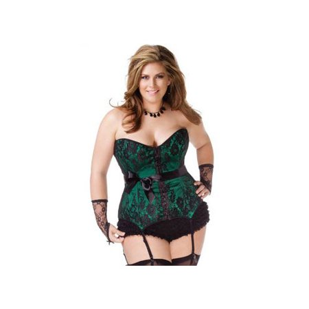 Coquette Green and Black Satin Corset with Lace Overlay 1063X Green/Black](Coquette Corsets)