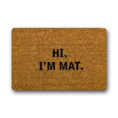 WinHome Hi I'm Mat Doormat Floor Mats Rugs Outdoors/Indoor Doormat Size 23.6x15.7 inches (Hi Low Mat)