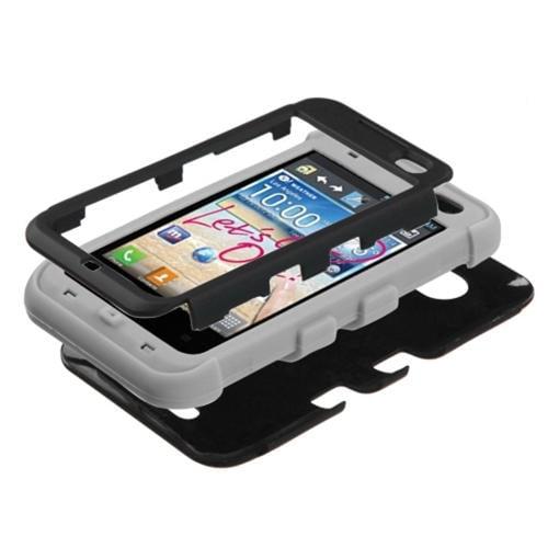 Insten Rubberized Black Grey TUFF Hybrid Hard Shockproof Phone Case Cover For LG Optimus Regard LW770