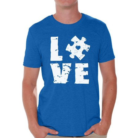 Awkward Styles Love Puzzle Shirt Autism Awareness Shirts for Men Autism T Shirt Autism Puzzle Gifts Support Autism Awareness Men's Tee Shirt Tops Autistic Spectrum Awareness Shirts (Autism Shirts For Sale)