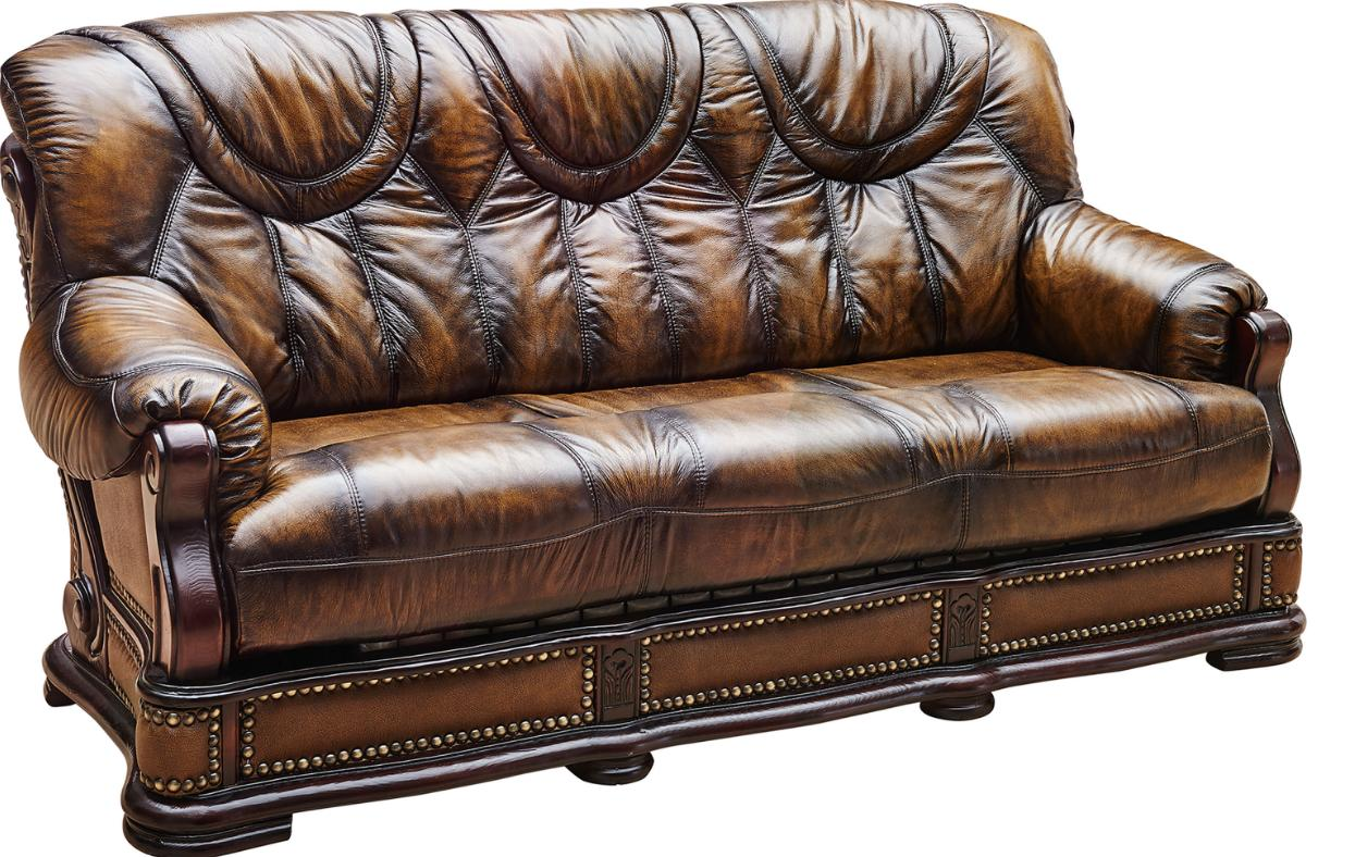 ESF Oakman Chic Dark Oak Full Italian Leather Sofa Sleeper Bed Contemporary