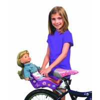 """Doll Bicycle Seat - """"Ride Along Dolly"""" Bike Seat (Purple) with Decorate Yourself Decals (Fits American Girl and Stuffed Animals)"""
