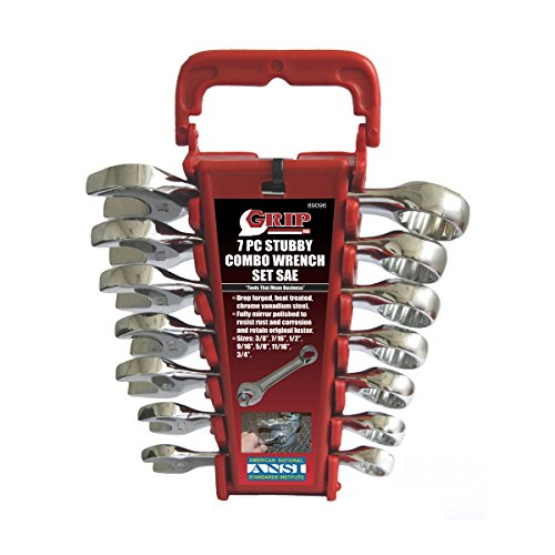 GRIP 89096 Stubby Combo Wrench Set, SAE, 7-Piece