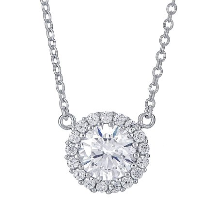 Sterling Silver Pendant Necklace with Solitaire Round CZ Stone Halo Pave Charm, Rhodium Plated 925 Silver, Adjustable Chain Length 16