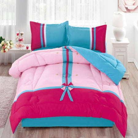 Traditional Reversible Floral Cotton Touch Kids Comforter Set W/ Sheet - Hot Pink & Blue - Full Size
