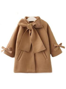 XIAXAIXU Toddler Kids Baby Girls Warm Wool Bowknot Trench Coat Overcoat Outwear Jacket