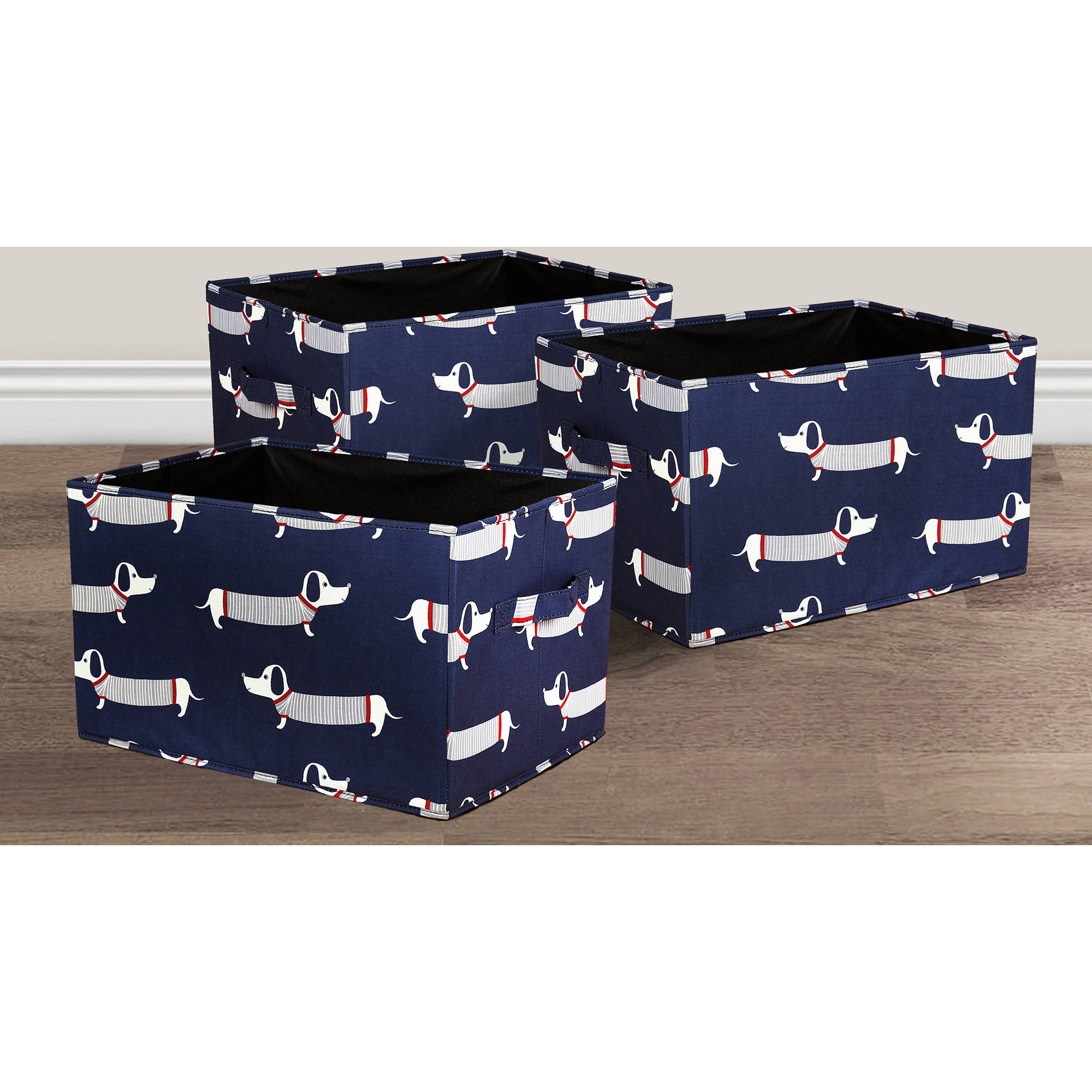 Sausage Dog Fabric Covered Collapsible Box Navy 3Pc Set