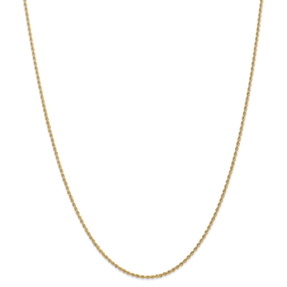 14k Yellow Gold 1.6mm Solid Rope Chain Necklace - Length: 16 to 30