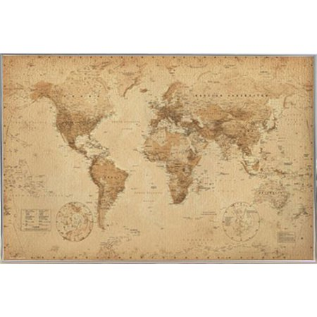 Alcott Hill World Map Antique Metal Framed Graphic Art Print