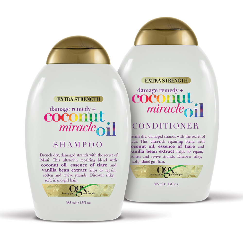 OGX Damage Remedy + Coconut Miracle Oil Shampoo & Conditioner Set 13oz, 2 Ct