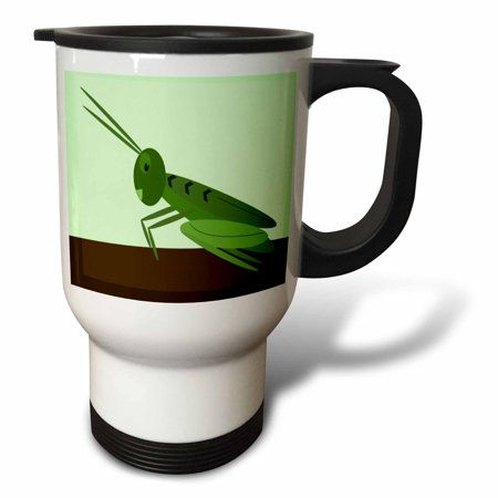 3dRose Adorable Grasshopper On Green, Travel Mug, 14oz, Stai