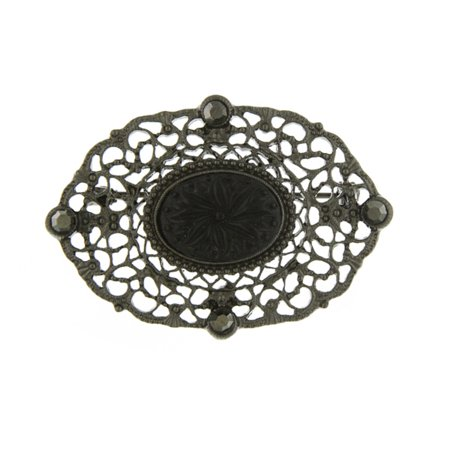 Black-plated Downton Abbey Black Glass & Black Epoxy Oval Pin