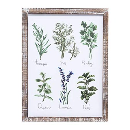 Barnyard Designs Kitchen Herbs and Spices Wall Art Decor Botanical Print Sign Rustic Country Farmhouse Wood Plaque Framed Home Wall Decor 15.75