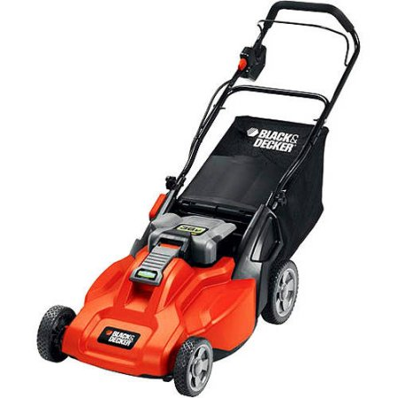 Click here to buy Black & Decker CM1936 19-Inch 36-Volt Cordless Electric Lawn Mower With Removable Battery.