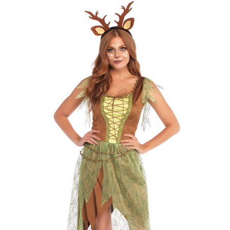 Costume Deer Ears (Leg Avenue Women's 2 PC Deer Fawn Costume, Multi,)