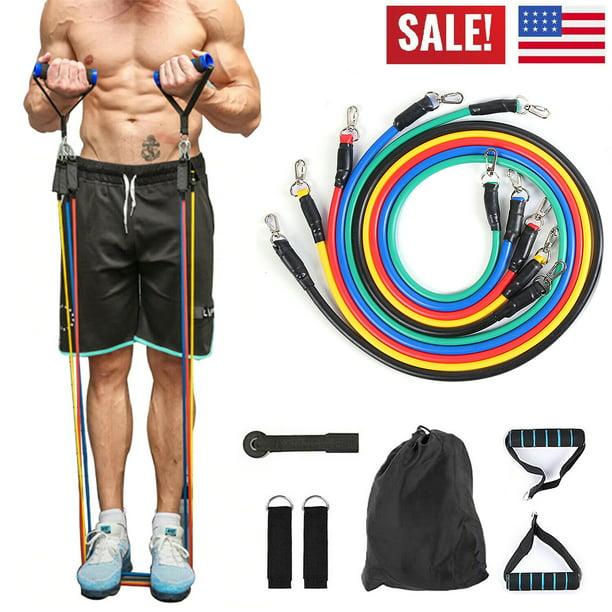USA Stock! 11 PIECE Resistance Bands Set Workout Exercise Yoga Training Tubes