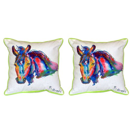 Pair of Betsy Drake Nellie - Horse Large Indoor/Outdoor Pillows 16 In X 20 In