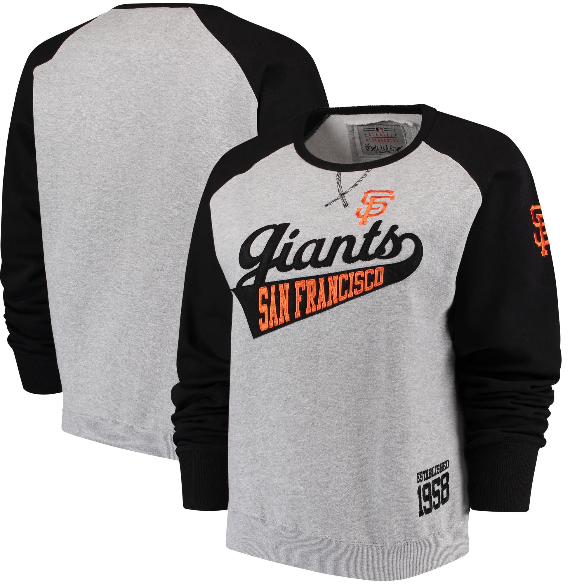 San Francisco Giants Soft as a Grape Women's Plus Size Payoff Pitch Color Blocked Sweatshirt - Gray/Black