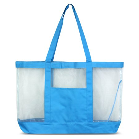 Zodaca Women Large Oversize Mesh See Through Tote Carry Bag Handbag for Beach Camping Grocery Shopping - Blue