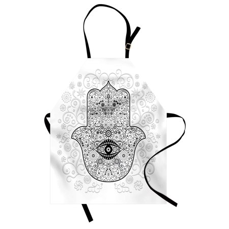 Hamsa Apron Divine Protection Magical Good Luck Charm on Gentle Floral Spring Backdrop, Unisex Kitchen Bib Apron with Adjustable Neck for Cooking Baking Gardening, White Black Gray, by Ambesonne