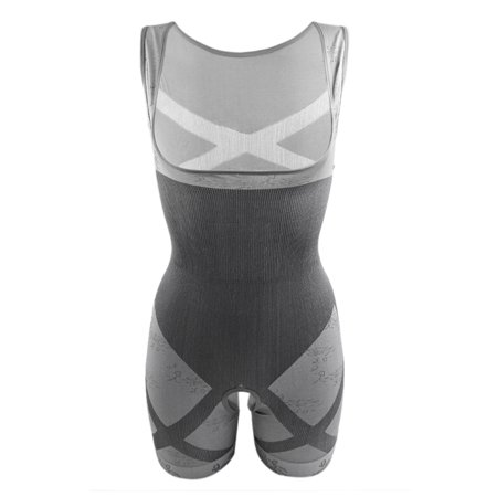 S-M Women Full Body Waist Cincher Slimming Bodysuit Shapewear Gray