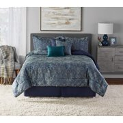 Mainstays Paisley Damask Teal 7-Piece Comforter Set