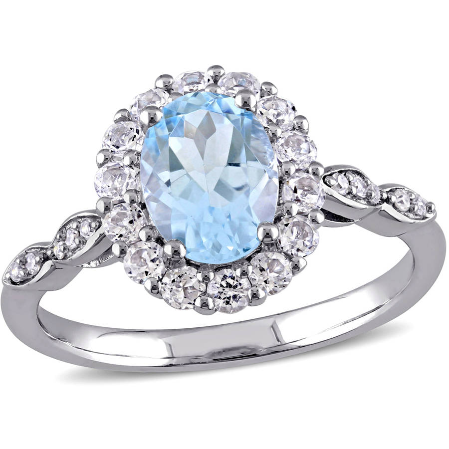 Tangelo 2-1 8 Carat T.G.W. Sky Blue Topaz, White Topaz and Diamond-Accent 14kt White Gold Vintage Ring by Tangelo