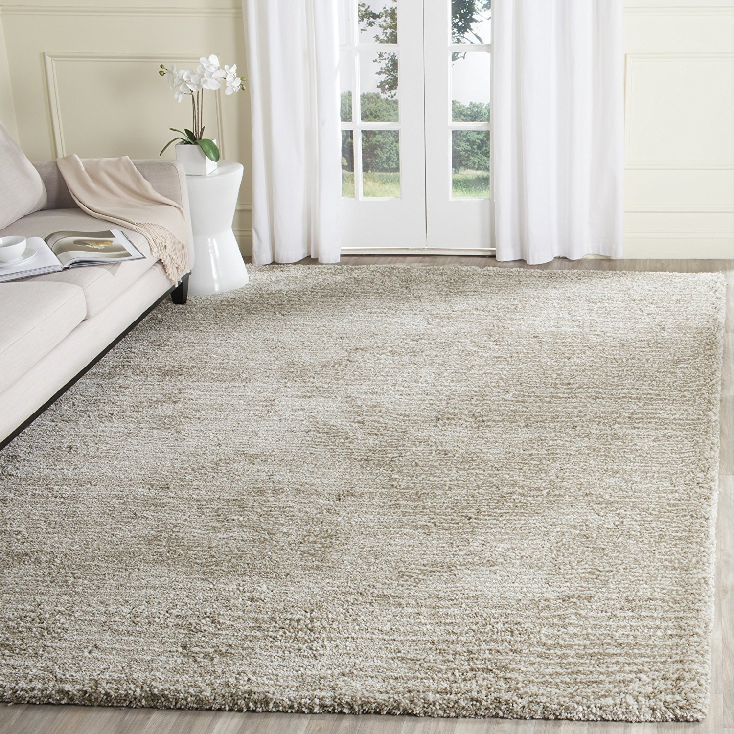 Safavieh Ultimate Shag Collection Sgu211 C Handmade Sand And Ivory Polyester Area Rug, 8 Feet By 10 Feet (8' X 10') by Safavieh