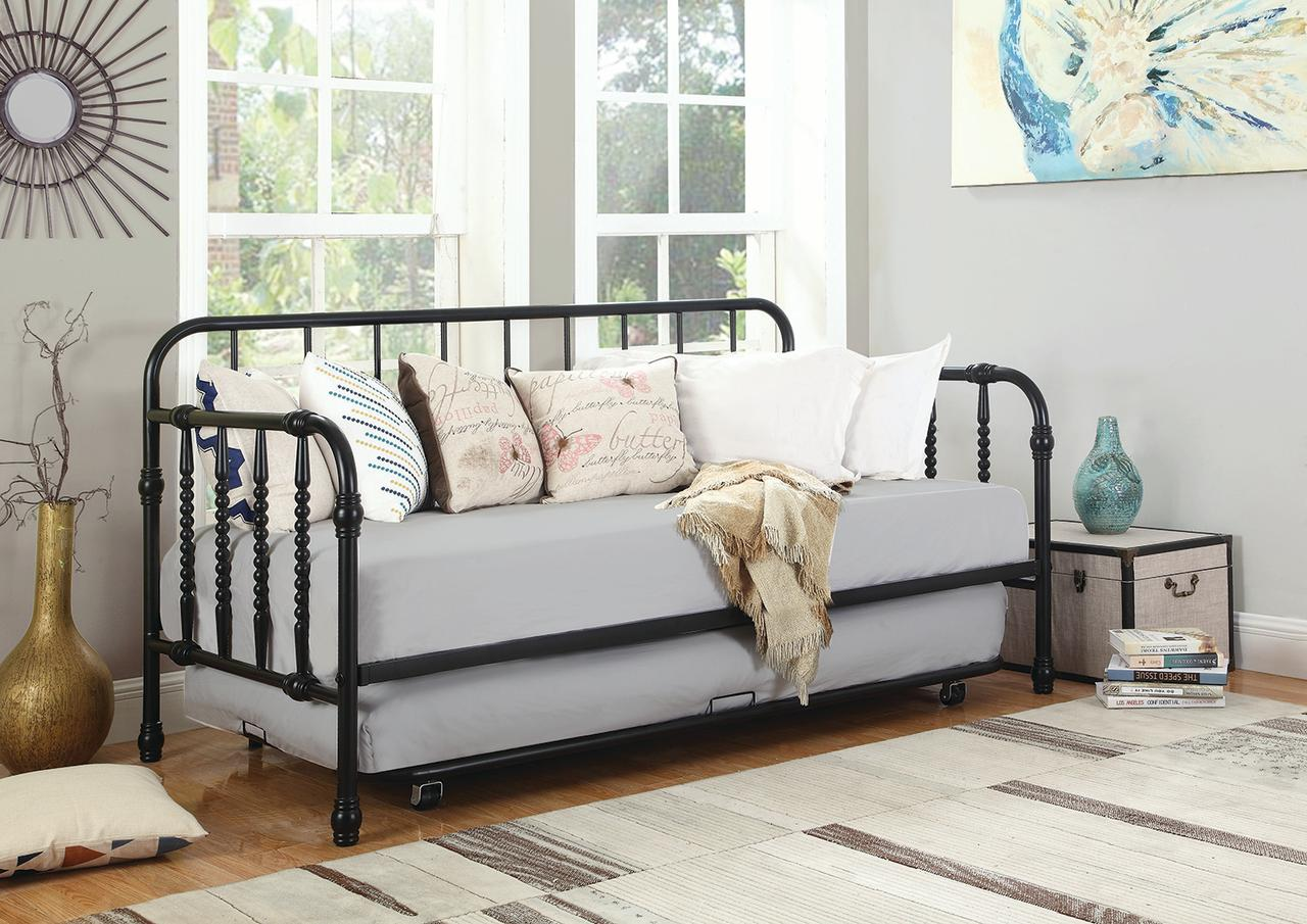 Coaster Twin Metal Day Bed in Black by COA INC