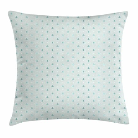 Anchor Throw Pillow Cushion Cover  Small Cute Anchors And Little Hearts Romantic Holiday Vacation Ocean Theme  Decorative Square Accent Pillow Case  24 X 24 Inches  Baby Blue Teal White  By Ambesonne