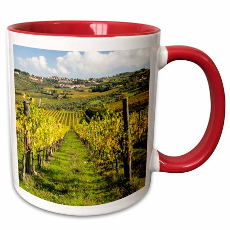 3dRose Italy, Tuscany. Vines and olive groves of the village of Panzano. - Two Tone Red Mug, 11-ounce
