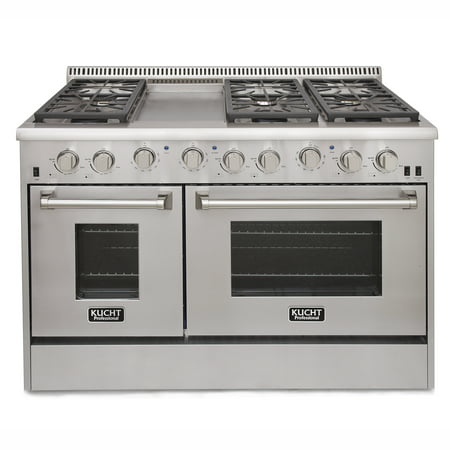 Kucht Professional 48 In  6 7 Cu  Ft  Natural Gas Range With Sealed Burners  Griddle And Convection Oven In Stainless Steel