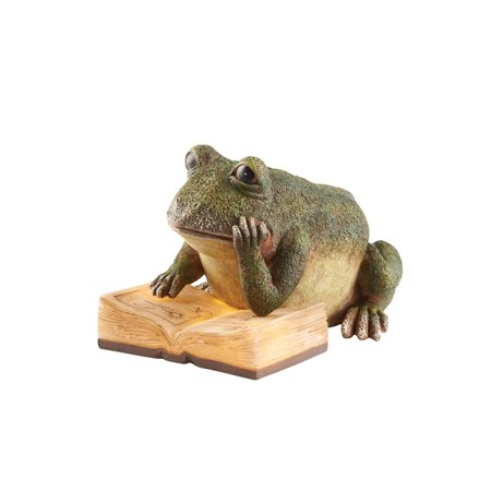 "Art & Artifact Lighted Reading Garden Frog Statue - Solar Powered Light Up Lawn Patio Yard Decoration - 6"" Tall"