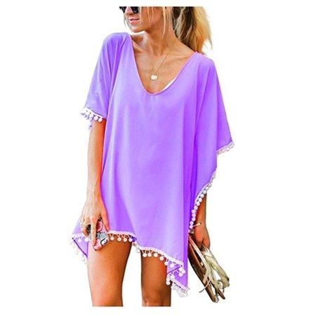 690646f4a9fee FRESHLOOK - Women's Fashion Chiffon Tassel Swimsuit Bikini Stylish Beach  Cover up - Walmart.com