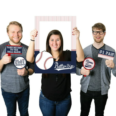 Baseball - Birthday Party or Baby Shower Selfie Photo Booth Picture Frame & Props -Printed on Sturdy