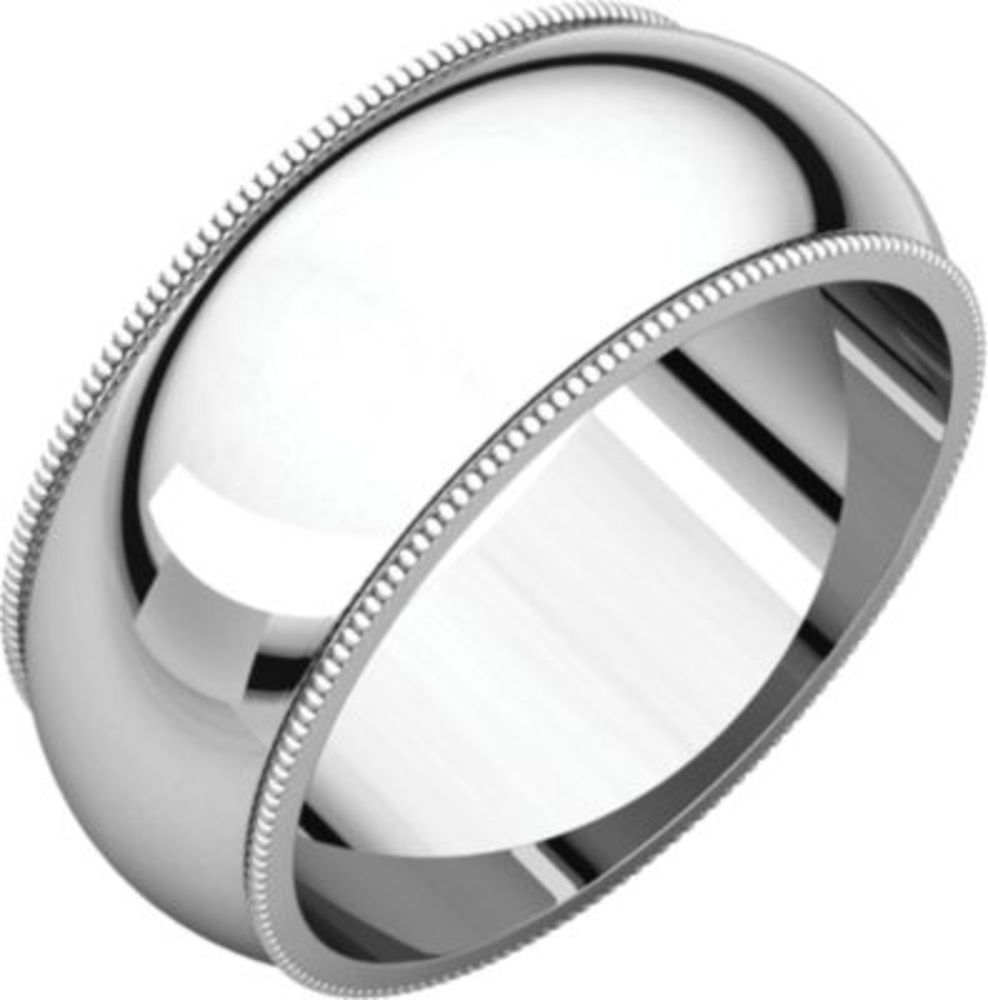Platinum 8mm Milgrain Band - Size 5