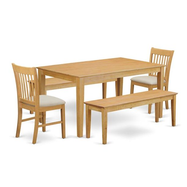 Dining Room Small Kitchen Table 2 Chairs Along With 2 Wooden Benches 44 Oak Walmart Com Walmart Com