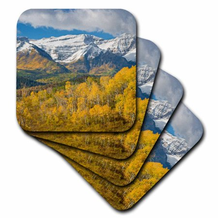 3Drose Mt Timpanogas  Aspen Trees  Wasatch Mountains  Utah   Us45 Hga0091   Howie Garber  Soft Coasters  Set Of 8