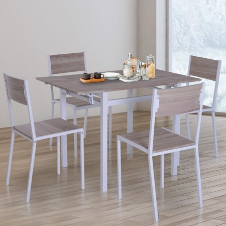 Anself 5 Piece Drop Leaf Counter Height Dining Table and Chairs Set ()
