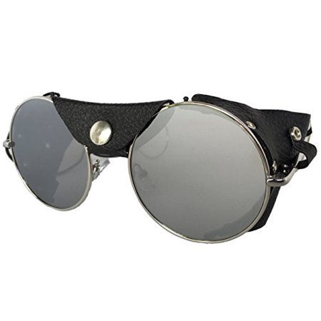 Road Vision Round Lens Motorcycle Sunglasses Steampunk Cycling (Chrome Frames, Flat Lens
