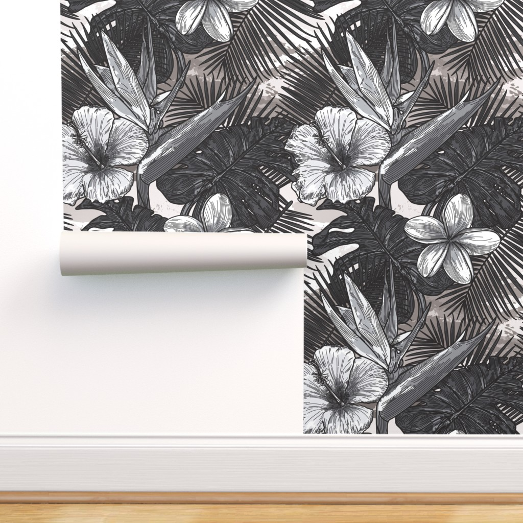 Peel And Stick Removable Wallpaper Tropical Black And White Floral