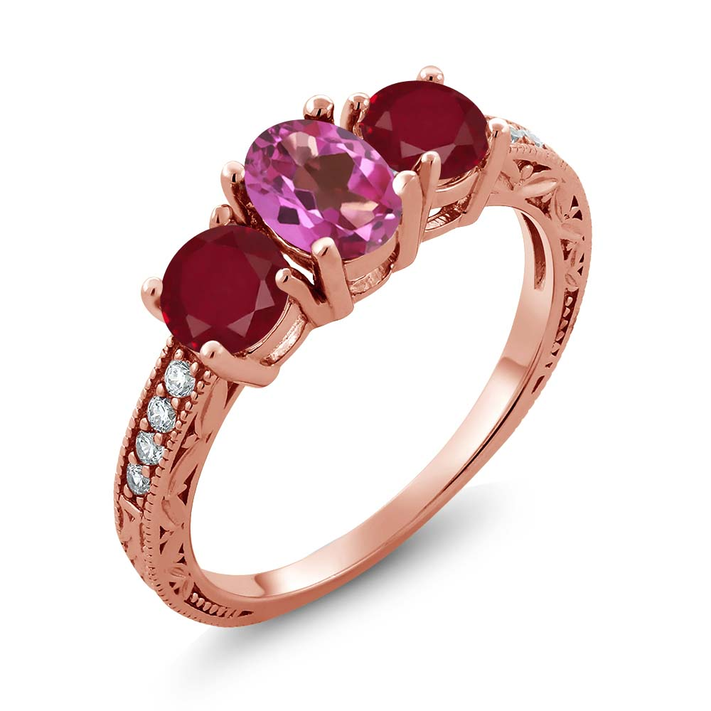 2.02 Ct Oval Pink Mystic Topaz Red Ruby 14K Rose Gold Ring by