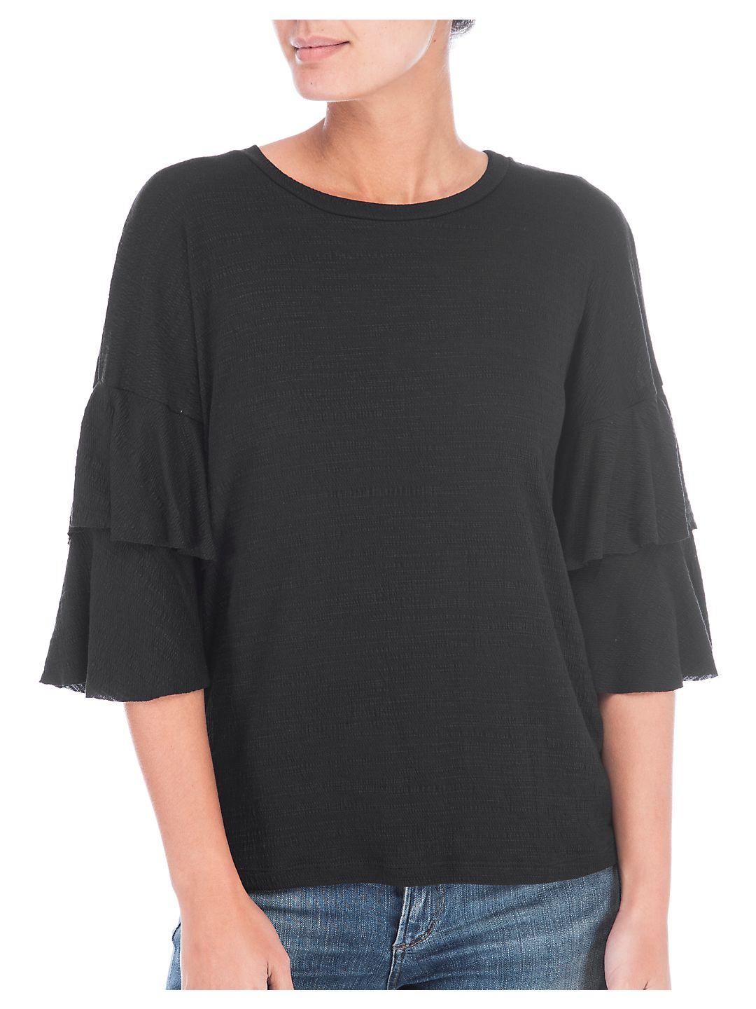 Bobeau Womens Raven Textured Ruffle Sleeves Pullover Top Black XS