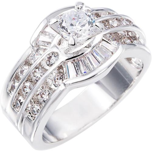 Simon Frank Beautiful Light Collection CZ Lady's Ring Silvertone  CZ Engagement Ring Size 6