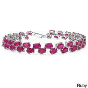 Malaika Sterling Silver Oval-cut Blue Topaz or Ruby Link Bracelet Ruby