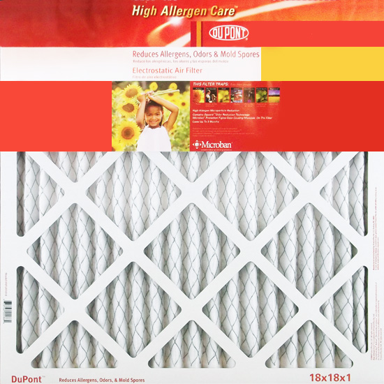 18x18x1 (17.75 x 17.75) DuPont High Allergen Care Electrostatic Air Filter