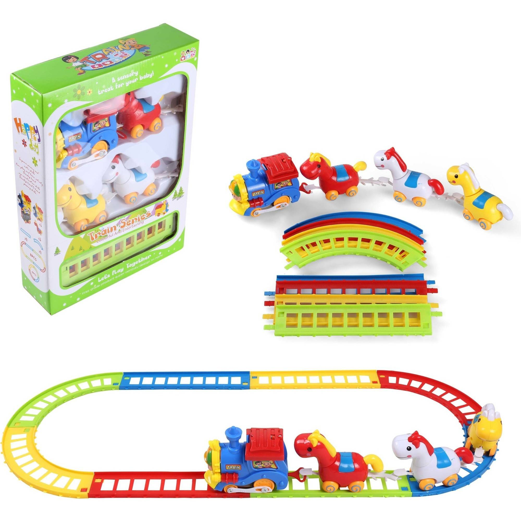 12-Piece Battery Operated Train, Animal Friends and Track Play Set
