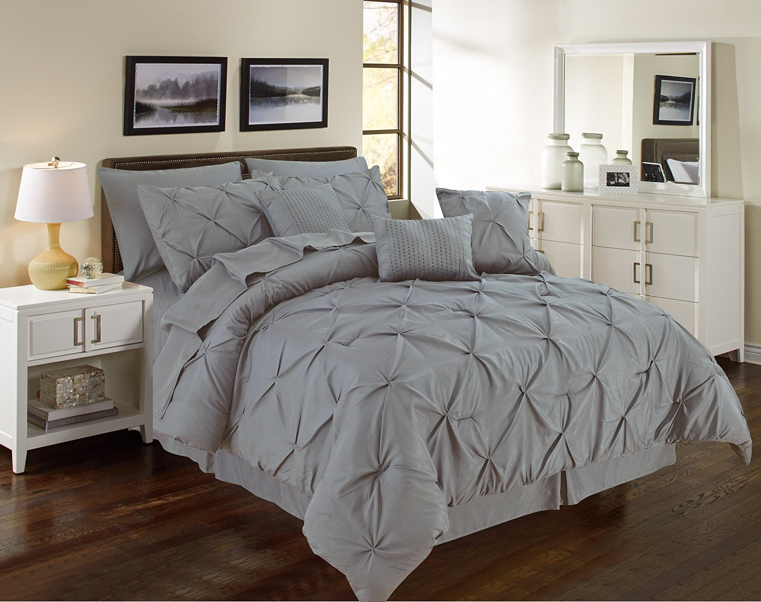 Pintuck Gray 11 Piece Comforter Set Over Sized Pinch Pleated Bedding With Sheets  CALIFORNIA