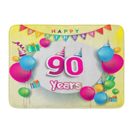 GODPOK 90Th Years Anniversary Celebration Birthday Design Box Balloons Colorful The Party Ninety Rug Doormat Bath Mat 23.6x15.7 inch