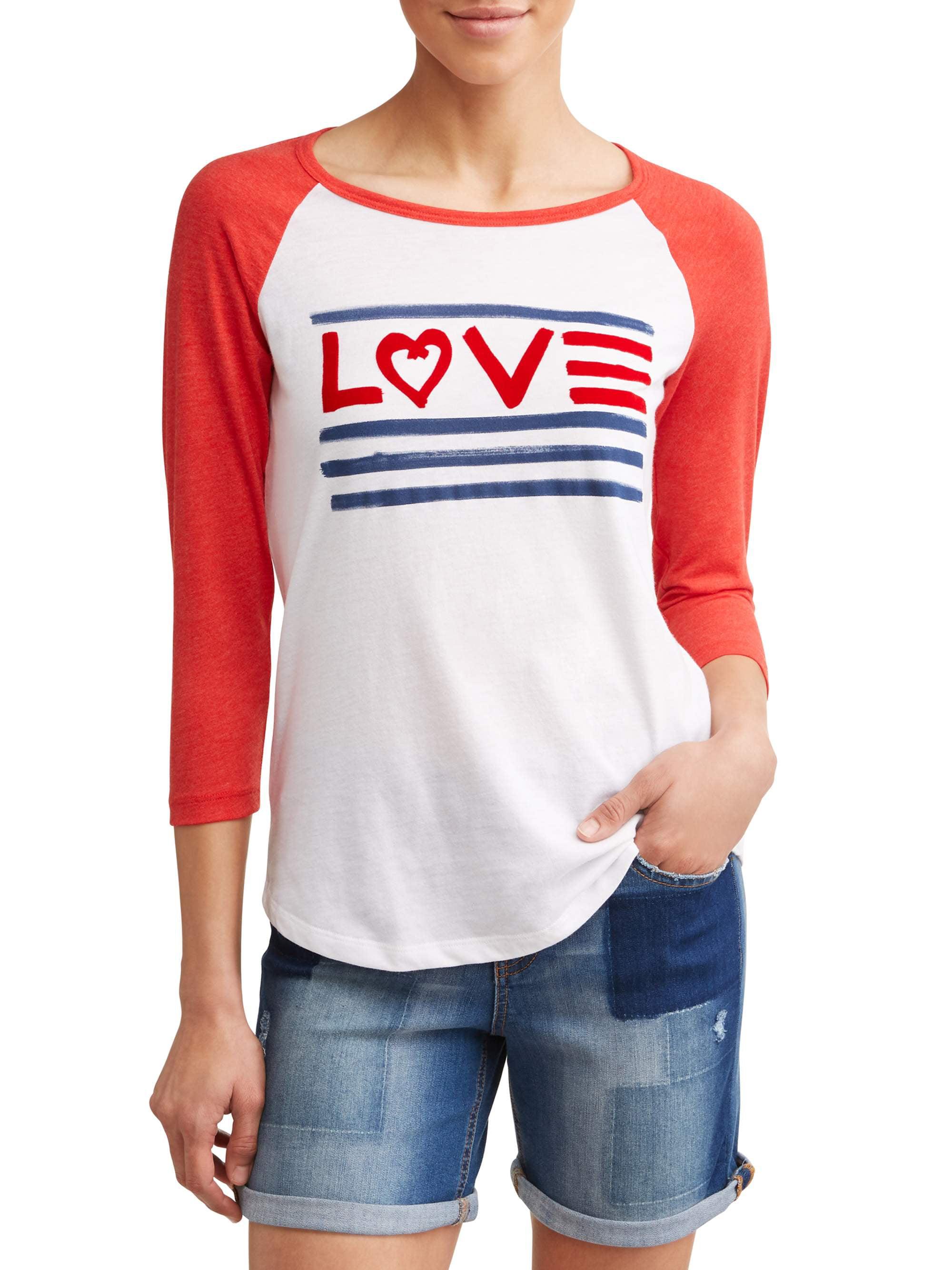 Love Flag 3/4 Sleeve Baseball Graphic Tee Women's